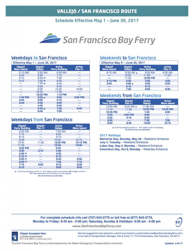 Vallejo to San Francisco Ferry Schedule Spring 2017