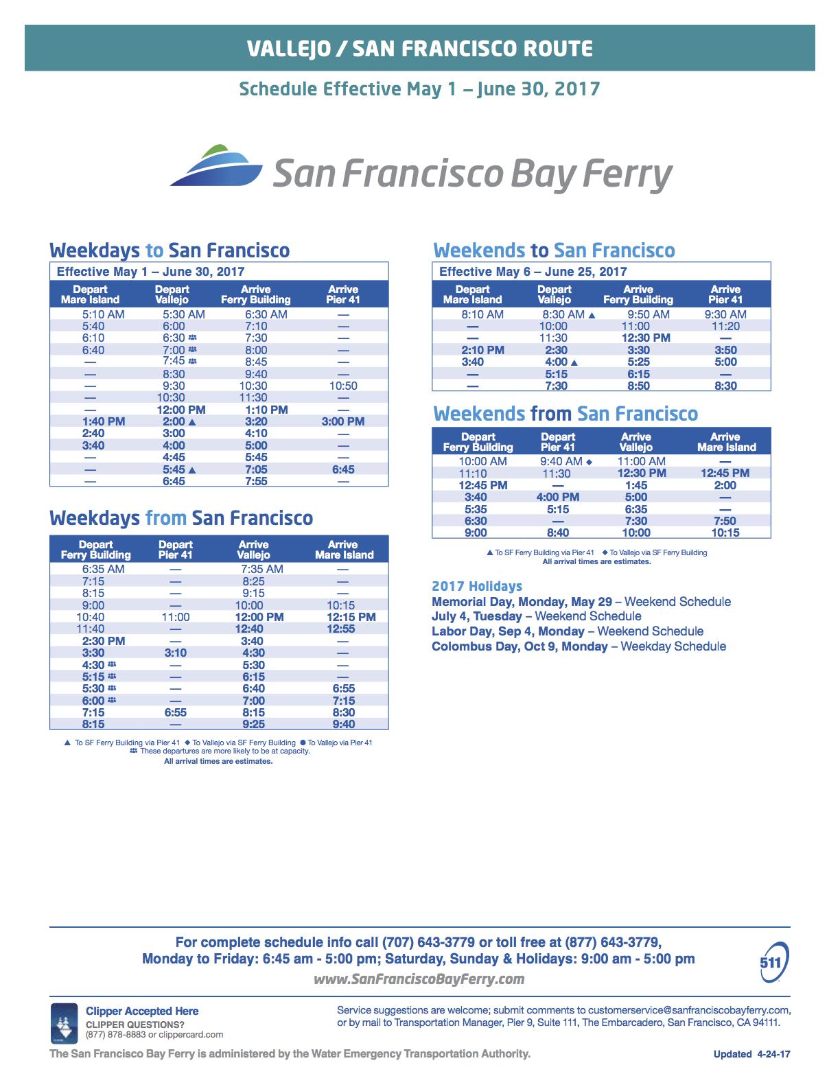 vallejo to san francisco ferry schedule spring 2017 - vallejo bay ferry