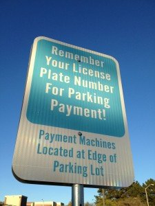 Vallejo Parking Lot Reminder to Remember Your License Plate Number