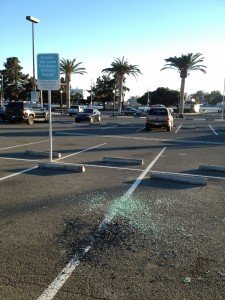 Vallejo Parking Lot Broken Glass - Vandalism
