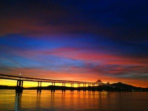 Sunset view of the Richmond Bridge from the Vallejo Ferry