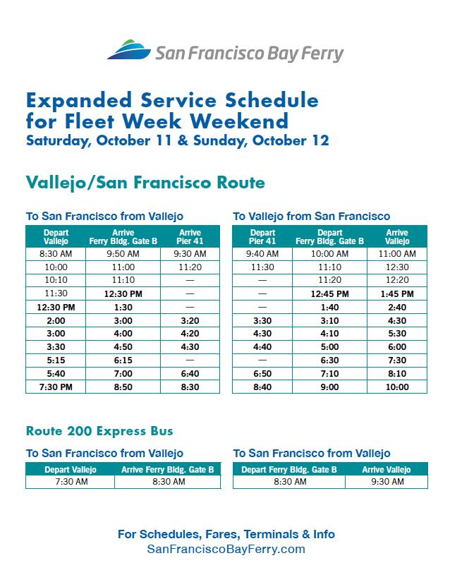 Vallejo San Francisco Ferry Fleetweek Schedule 2014