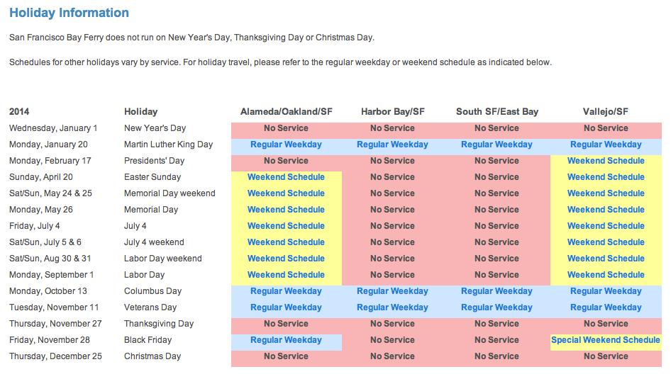 Vallejo - San Franciso Hoiiday Schedule 2014