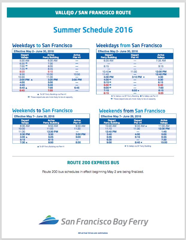 Vallejo Ferry Summer 2016 Schedule