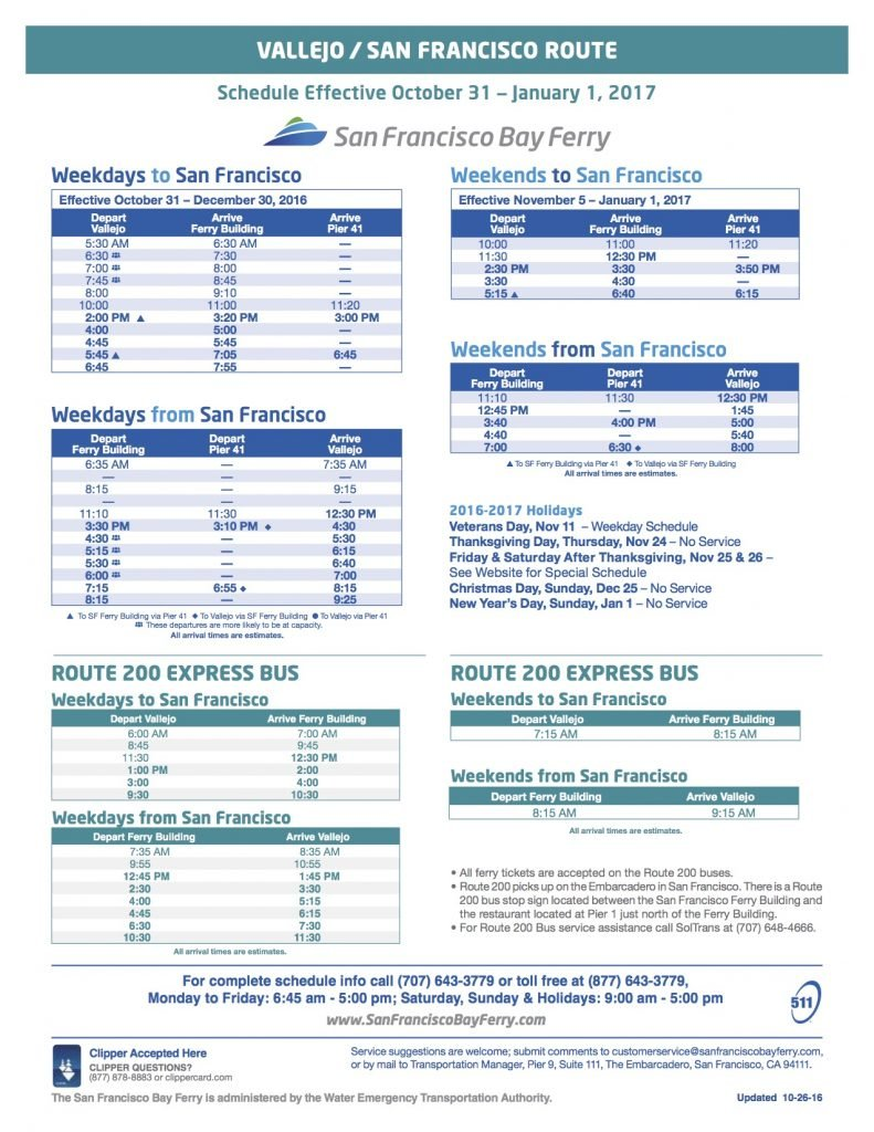 Vallejo Bay Ferry Schedule Fall 2016
