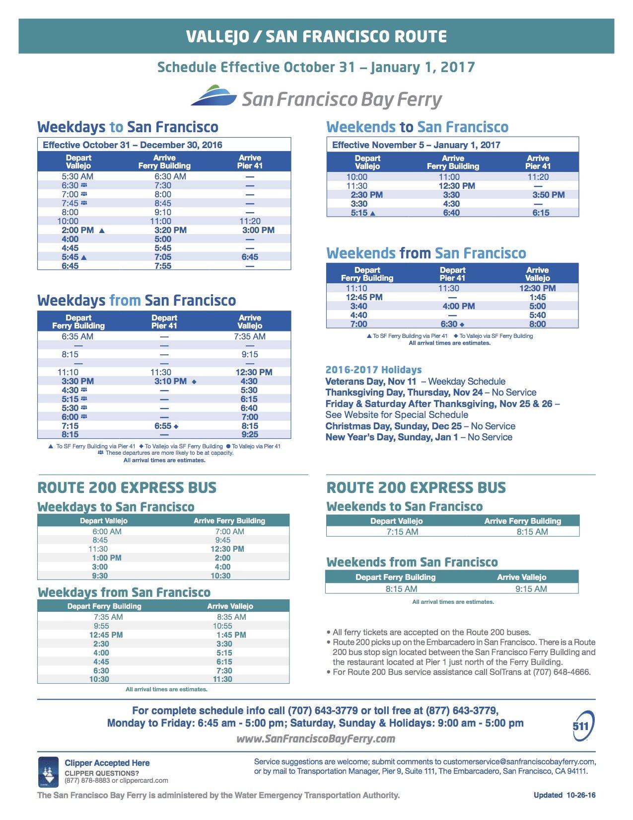 vallejo bay ferry schedule fall 2016 - vallejo bay ferry