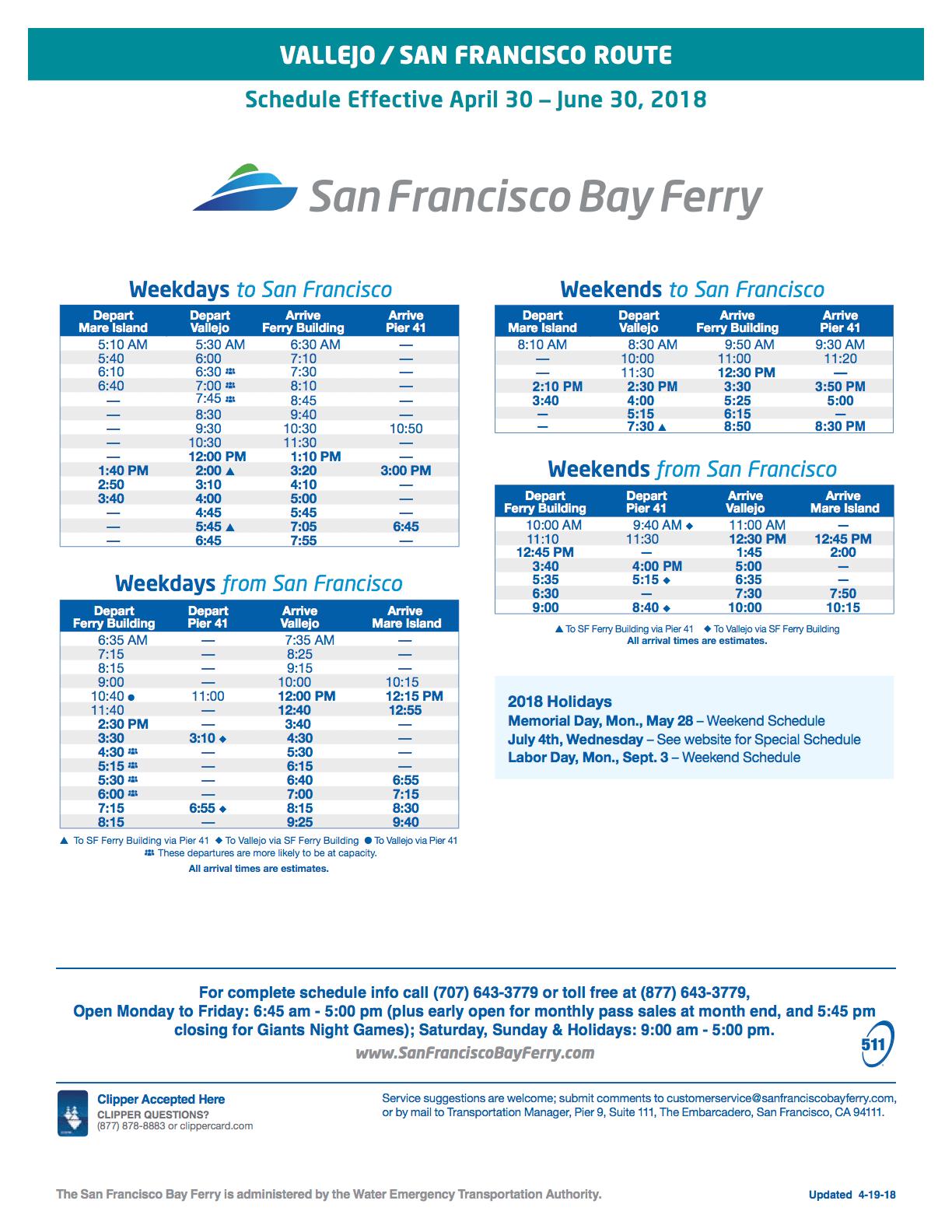 summer 2018 vallejo ferry schedule - vallejo bay ferry