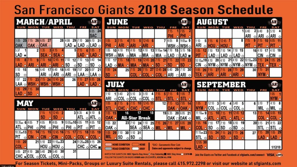 San Francisco Giants 2018 season schedule