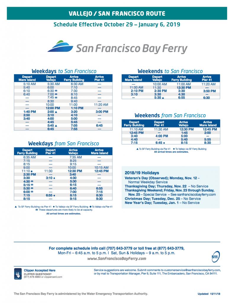 Vallejo ferry schedule winter 2018