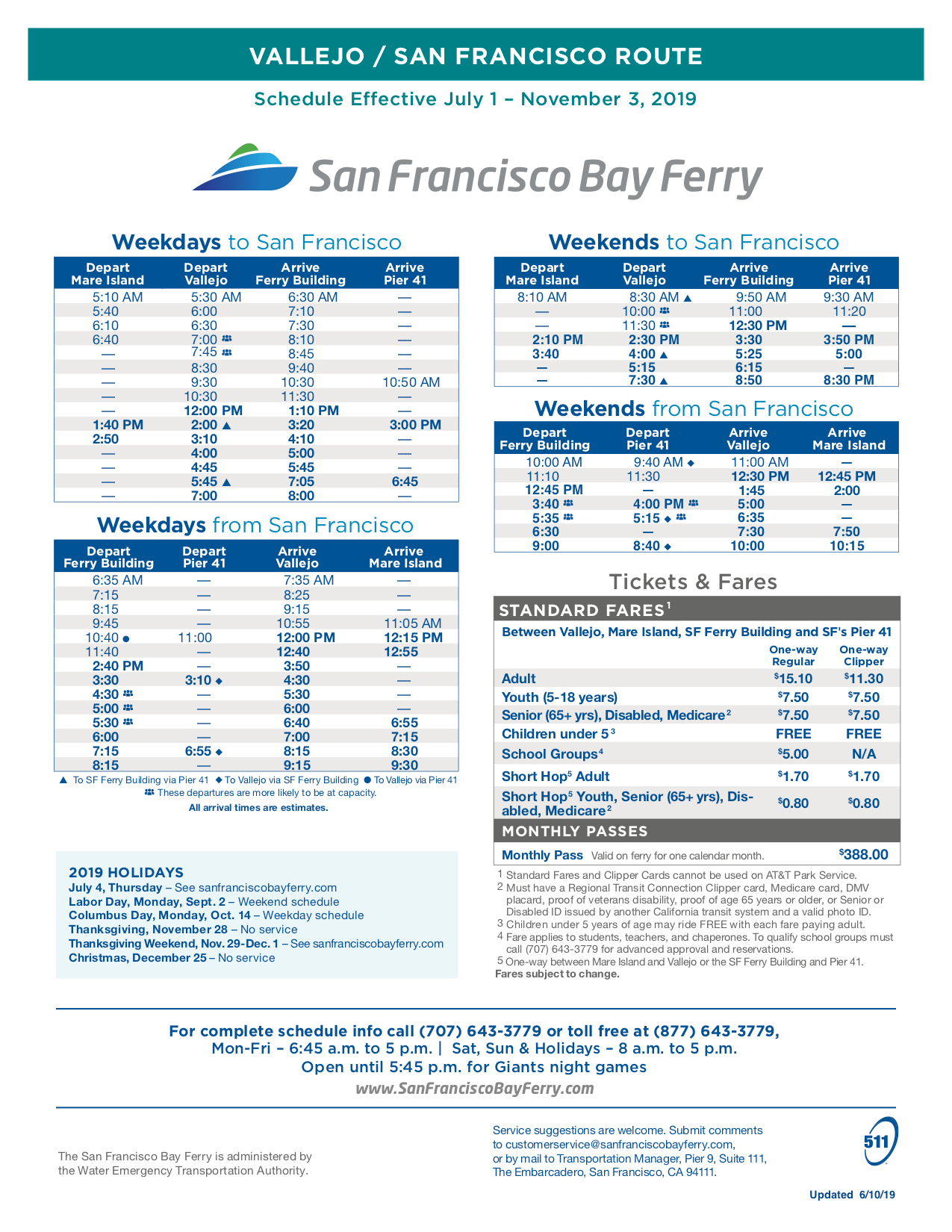 Vallejo Ferry Schedule - Vallejo Bay Ferry
