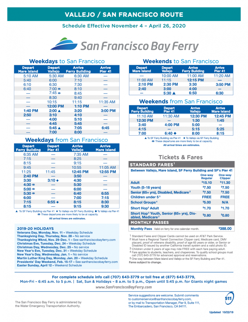 vallejo ferry schedule winter 2019-2020