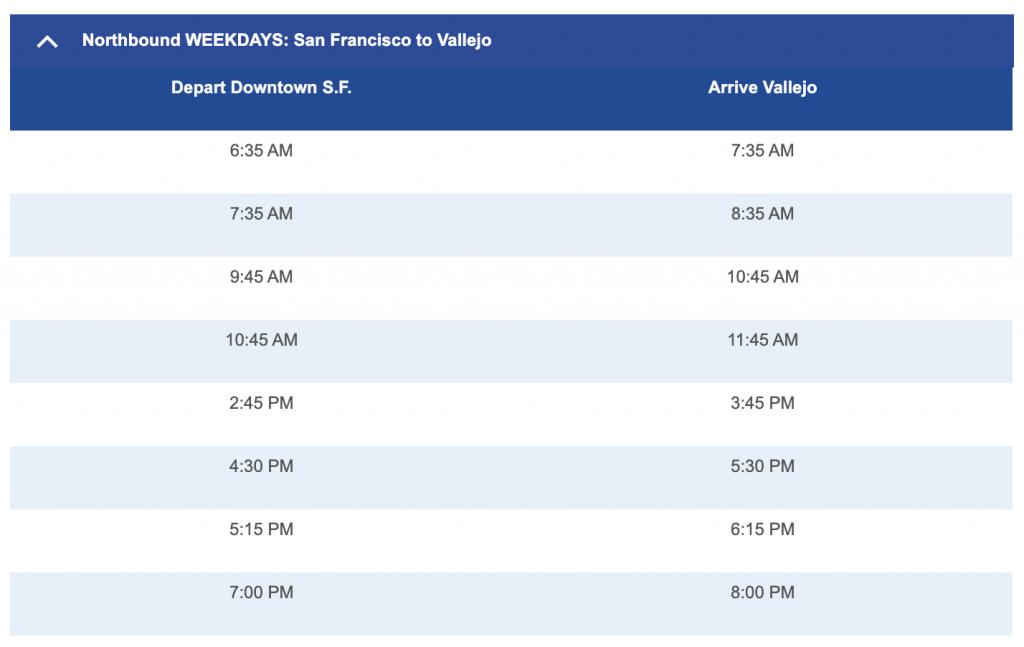 Vallejo / San Franciso Ferry Schedule
