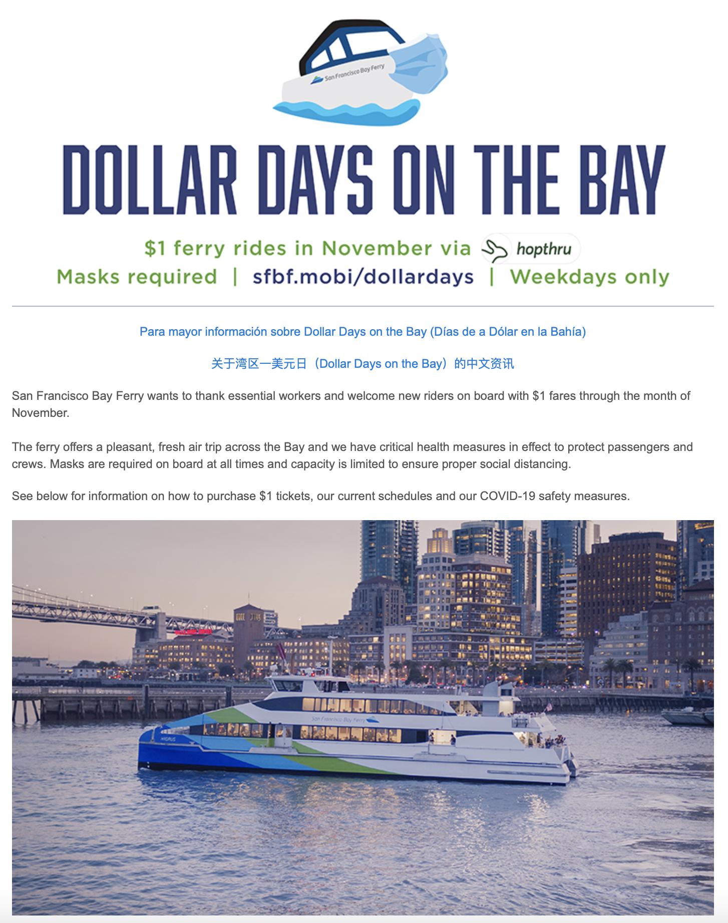 Dollar Days On The Bay Vallejo Bay Ferry